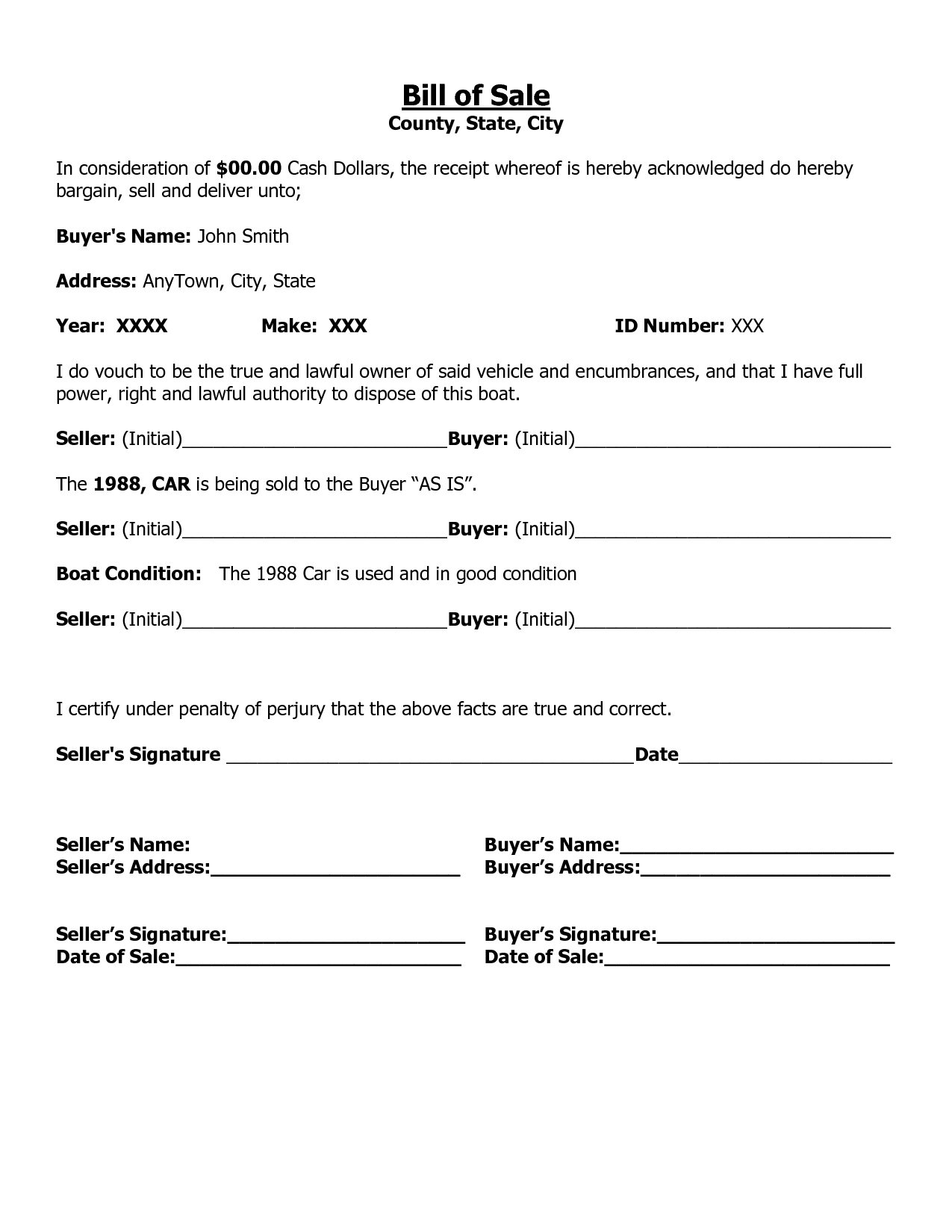 Free Printable Free Car Bill Of Sale Template Form