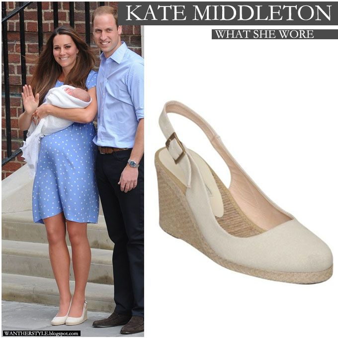 64c4bf57ca1 Kate Middleton in baby blue polka dot dress with white beige espadrille  wedge shoes on July 23 - Want Her Style  duchess  cambridge  baby  fashion   shoes