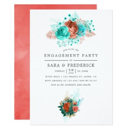 Turquoise and Coral Tropical Engagement Party Invitation | Zazzle.com #turquoisecoralweddings