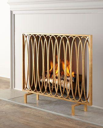 Concordia Fireplace Screen Modern Fireplace Screen Gold