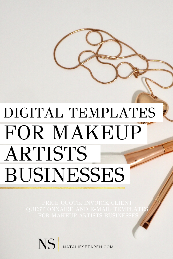 Price Quote, Invoice, Client Questionnaire, and E-mail Templates for Your Freelance Makeup Business #freelancemakeupartist Are you a freelance makeup artist? Or maybe you're just wondering how to become a makeup artist... Well, this post is for you. Here I share my favorite systems and tools as a professional makeup artist. These are the templates I use for my makeup artist business, that can help you grow your business and look more professional, and optimize your time. Click here to get price
