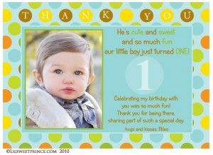 First Birthday Boy Thank You Card 1st Birthday Invitations