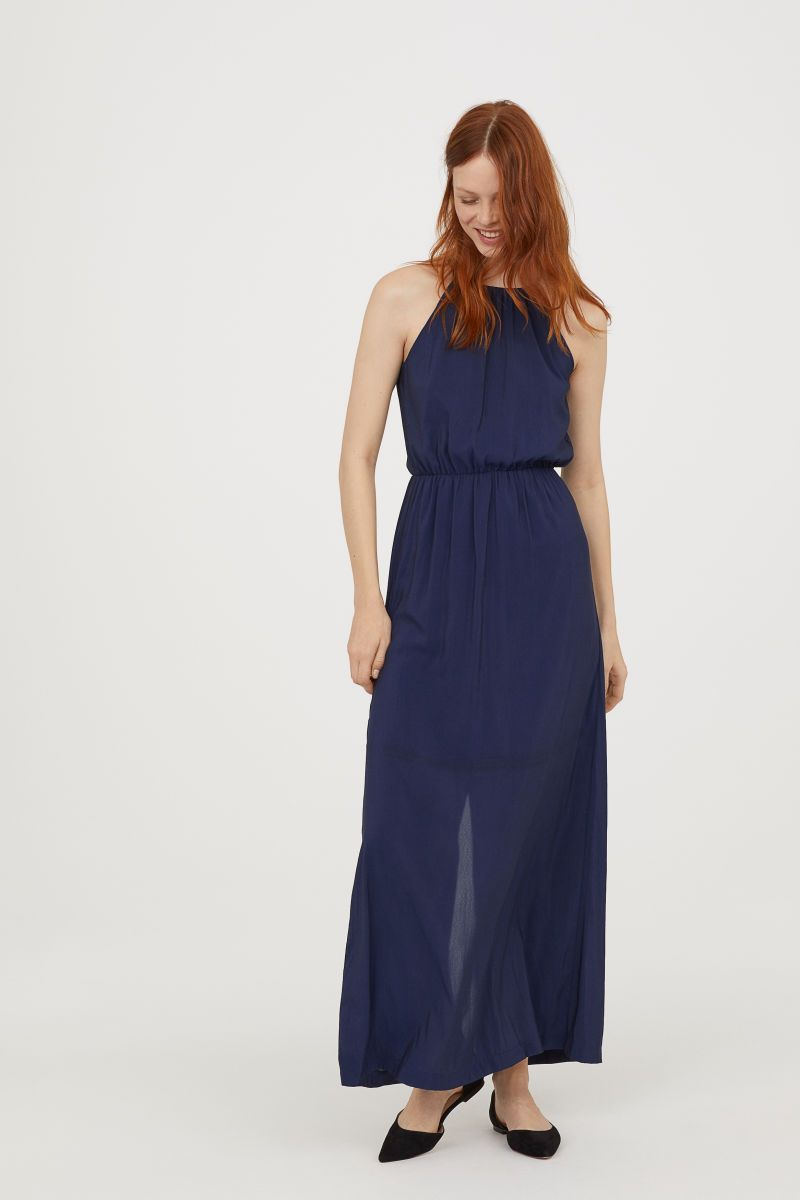 langes kleid   dunkelblau   damen   h&m de   kleider h&m
