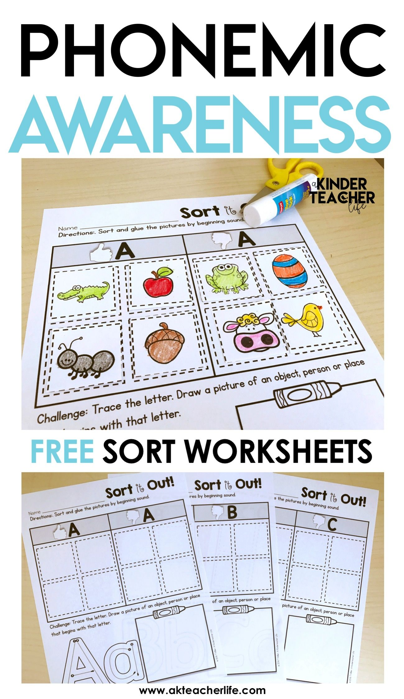 FREE Phonemic Awareness Sorting Worksheets   Phonics kindergarten [ 2249 x 1299 Pixel ]