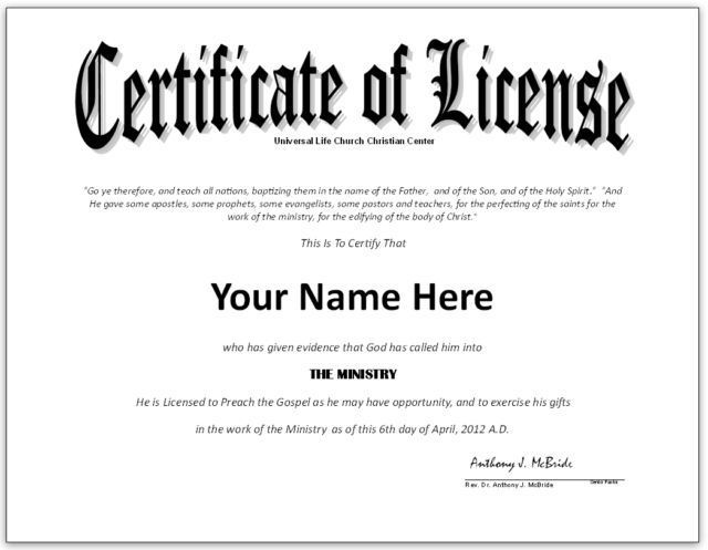 Pastor license certificate template google search for Minister license certificate template