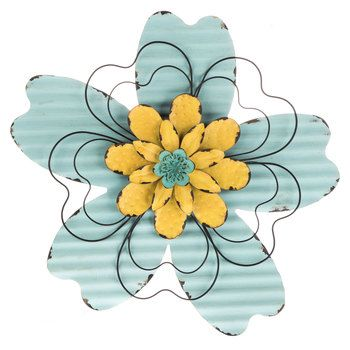 Turquoise & Yellow Metal Flower | Living areas | Pinterest | Metals ...
