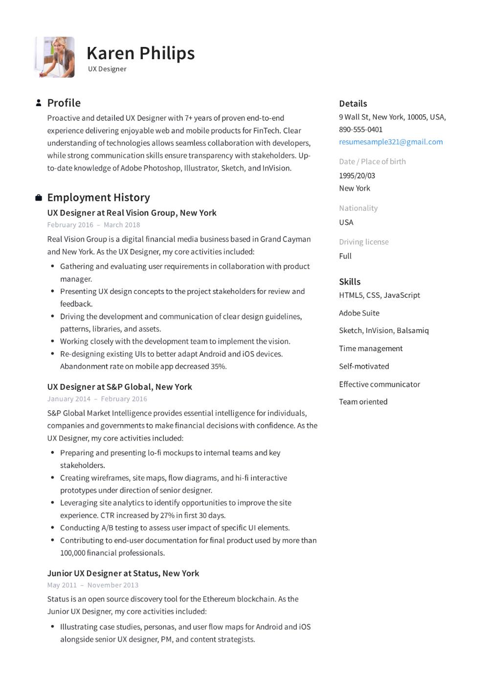 12 UX Designer Resume Sample (s) 2019