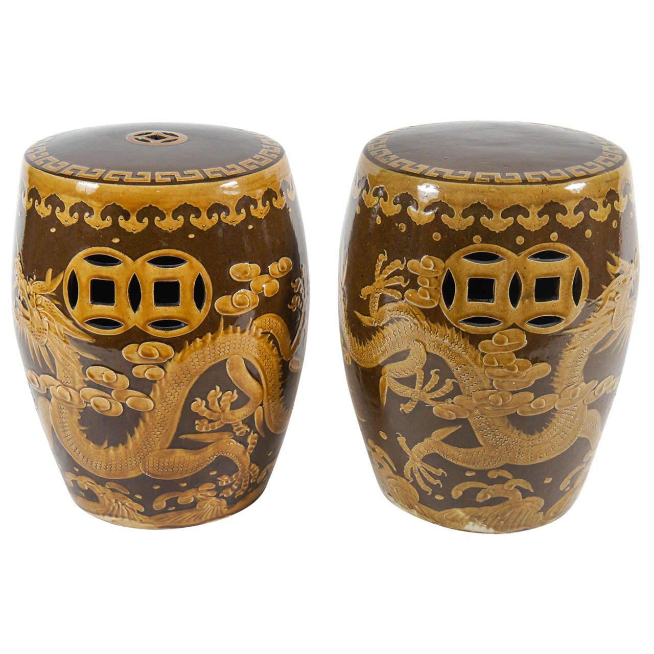 Near Pair of Vintage Chinese Pottery Dragon Motif Garden Seats or Stools | From a unique collection of antique and modern garden furniture at https://www.1stdibs.com/furniture/building-garden/garden-furniture/