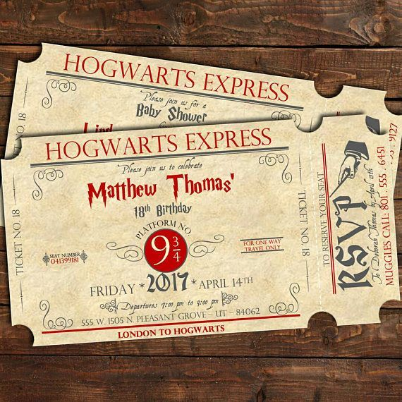 Harry Potter Birthday Train Ticket Invitation Harry Potter Theme