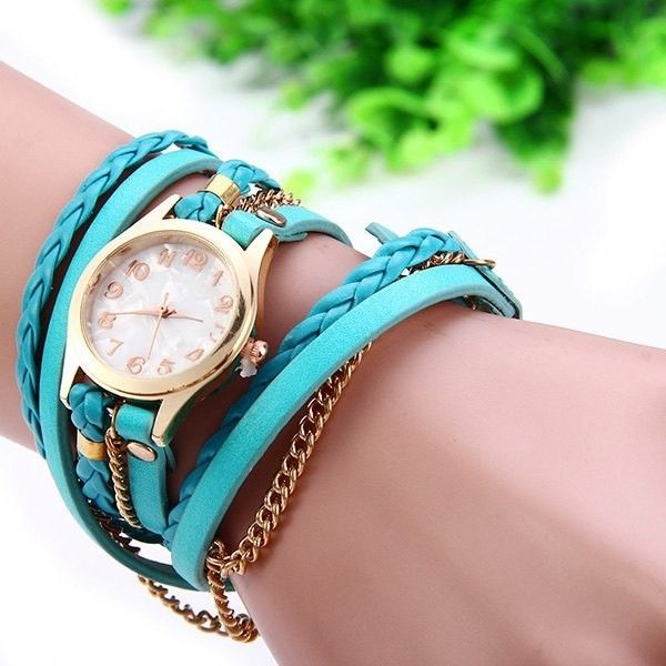Women Vintage Weave Wrap Leather Bracelet Wrist Watch (€2,82) ❤ liked on Polyvore featuring jewelry, watches, vintage watches, leather wrist watch, vintage wrist watch, vintage jewelry and leather wrap watches