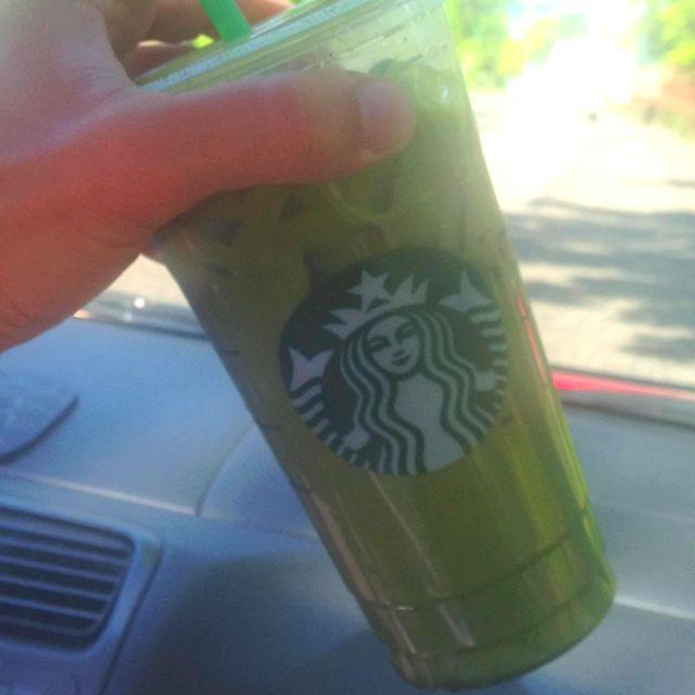 Venti Iced Green Tea Latte With Soy, Add 2 Shots Espresso