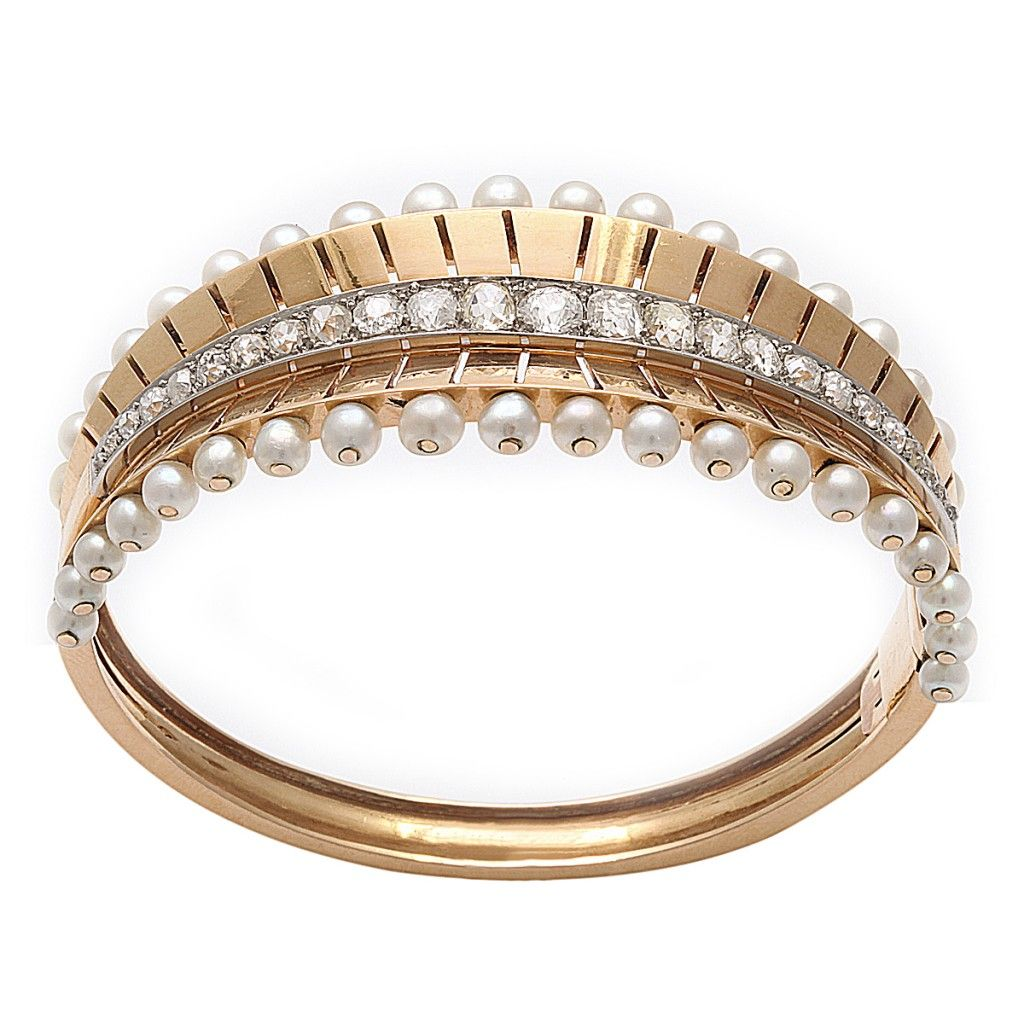 c pin karat bangles bracelets french natural pearl bangle diamond bracelet and gold
