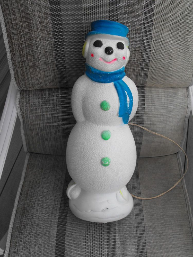 vintage 1969 empire blowmold plastic lighted christmas skating day glow snowman day glow blow - Outdoor Plastic Lighted Christmas Decorations