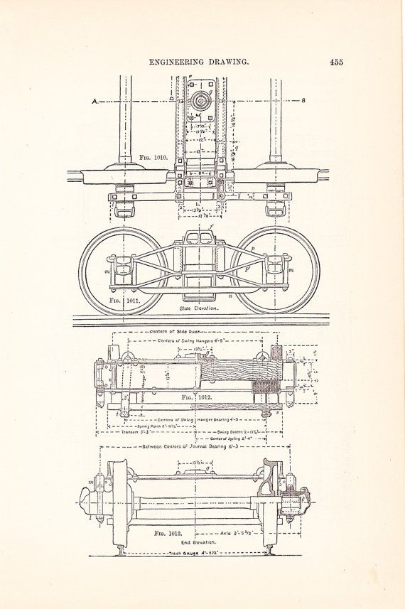 1886 Technical Drawing Railroad Car Antique Math by Holcroft, $12.00 ...