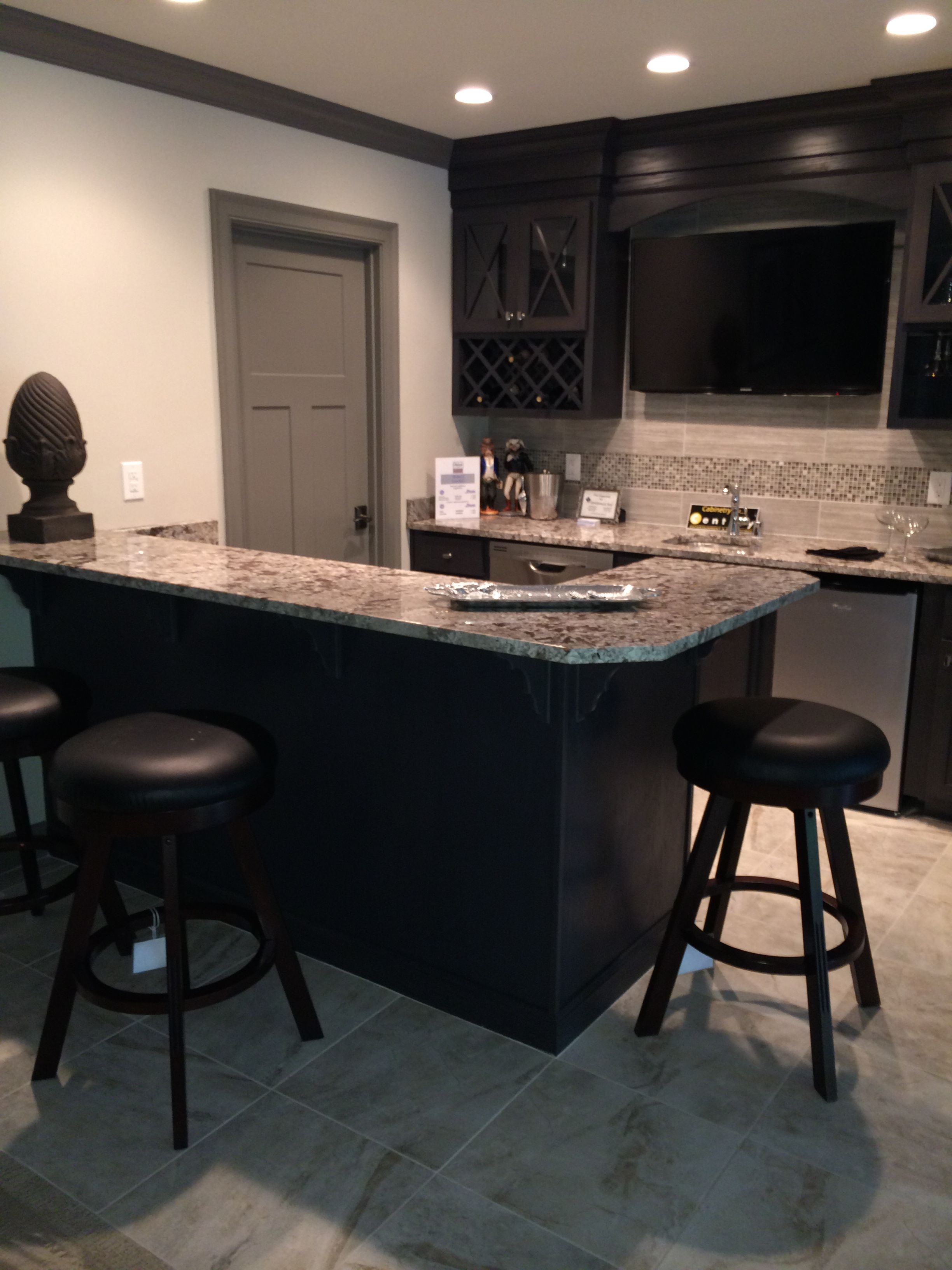 Bianco Antico Granite Countertops With Espresso Cabinets And Grey