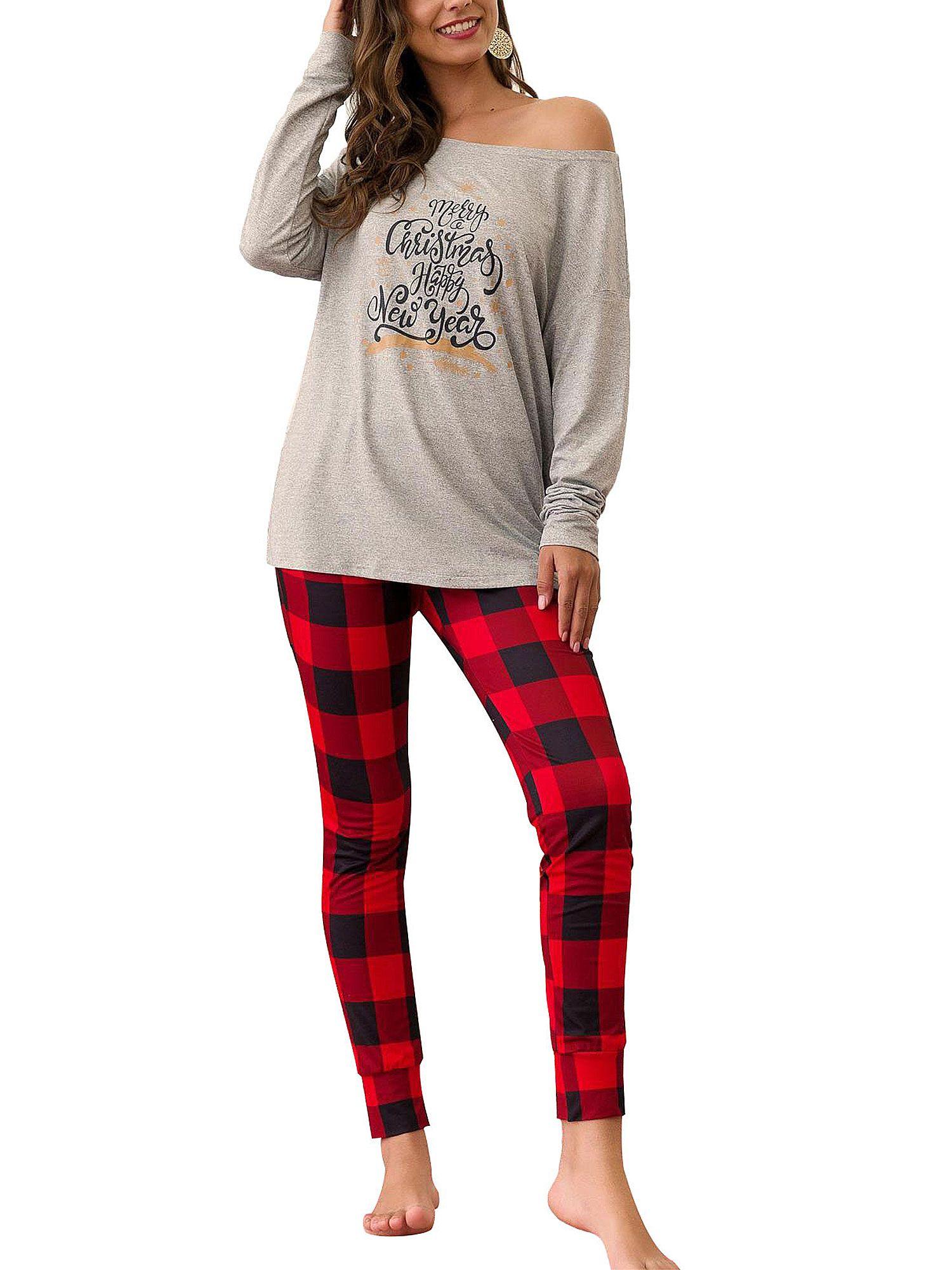 Plus Size Family Women Girls One Shoulder Christmas Pyjamas Xmas 2pcs Nightwear Pajamas Pjs Set Ladies Long Sleeve Shirt Classic Plaid Checked Pants Savingf Womens Christmas Pajamas Christmas Pajamas