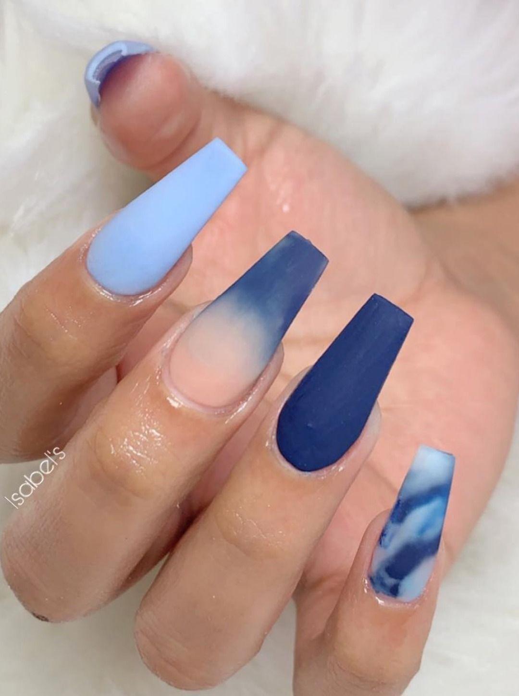 Matte Blue Shades Coffin Nails Design Cute Acrylic Nails Coffin
