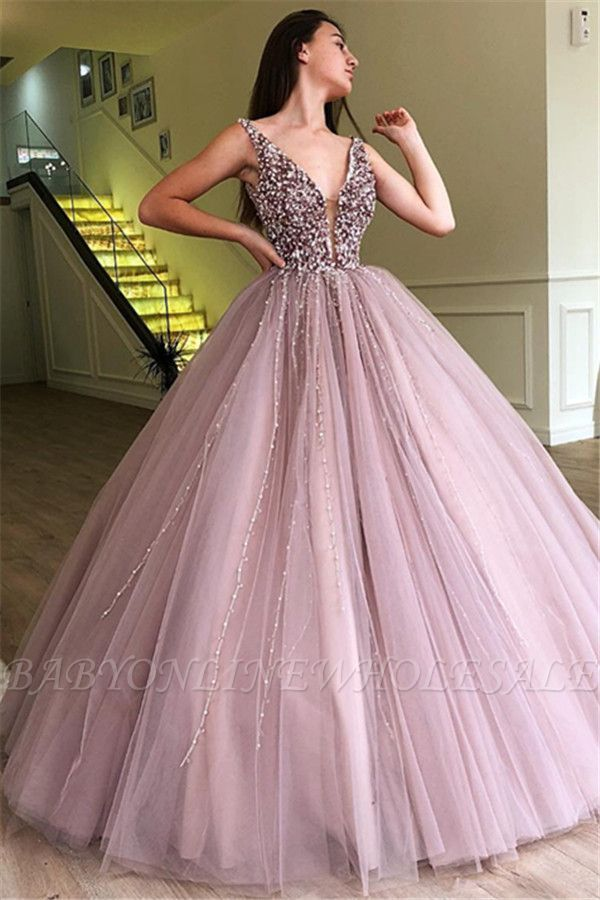 Stunning Ball Gown Tulle Beading Straps Sleeveless Prom Dress Bc0794 Prom Dresses Ball Gown Prom Dresses Sleeveless Ball Gowns Prom