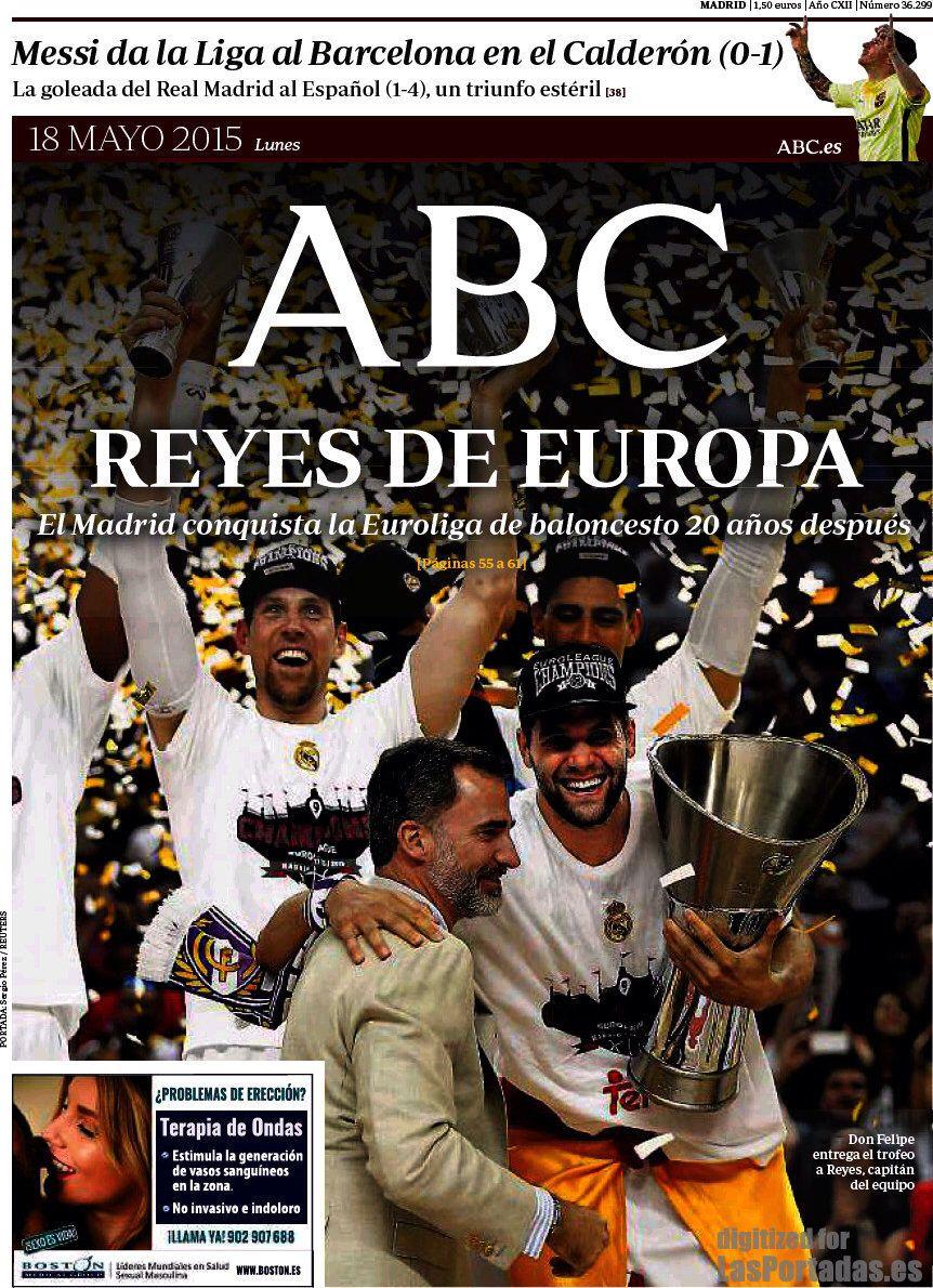 PORTADA DIARIO ABC. El Madrid de Basket Campeón de Europa. 18.05.15