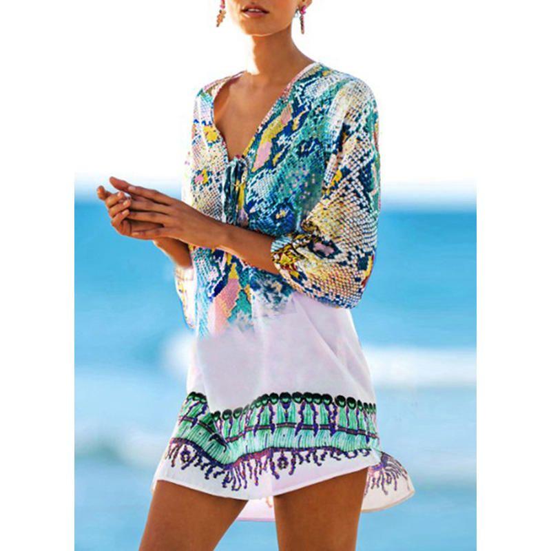 328e189d5a Colorful V-neck Beautiful Cover-ups Swimsuits Beach Wear Dresses, Blue  Dresses,