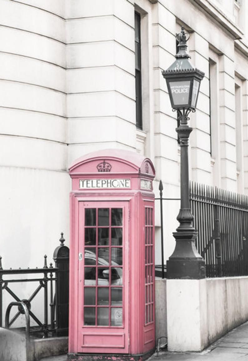 London Wall Prints // Pink Telephone Booth // Large Art // Travel Photography // Office Decor // London Prints // Travel Decor Art
