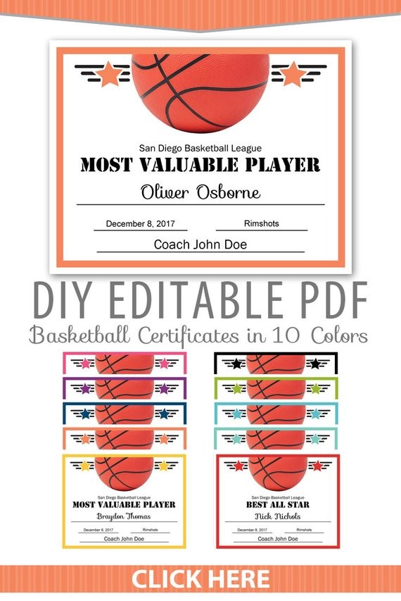 Editable Pdf Sports Team Basketball Certificate Award Template In 10