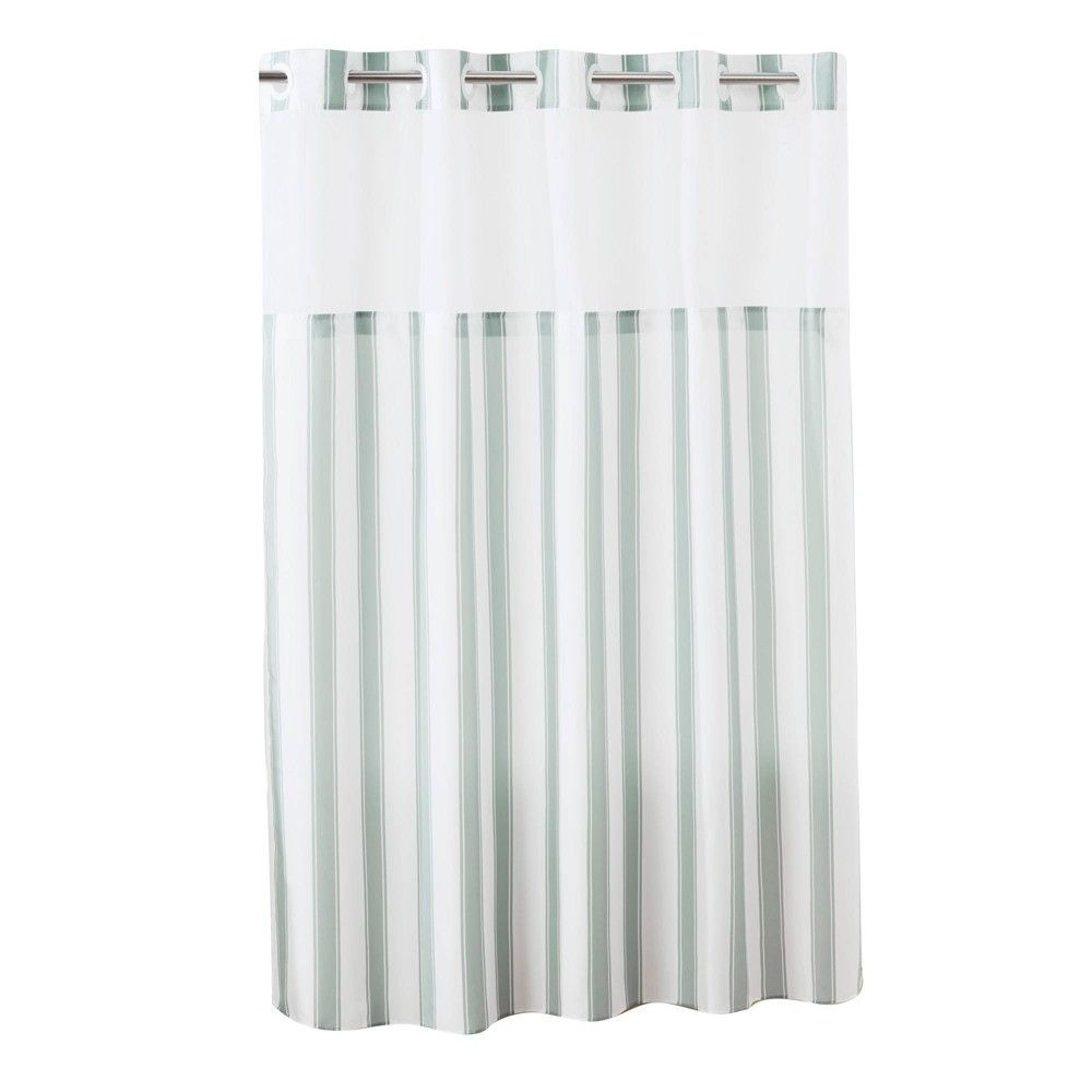 Stripes Shower Curtain With Liner Gray Hookless Adult Unisex
