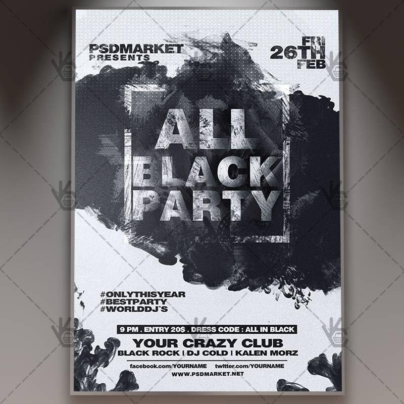 All Black Party  Club Flyer Psd Template Black Blackflyer