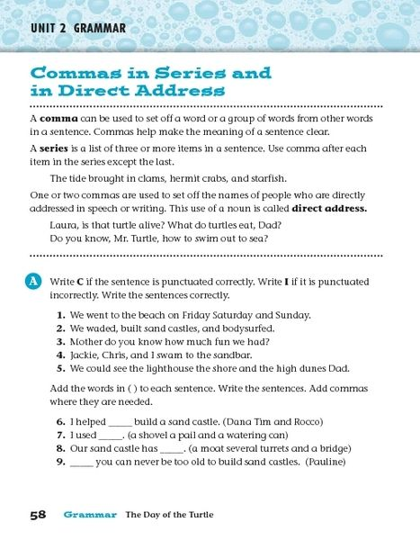Commas In Series And In Direct Address 3rd 6th Grade Worksheet Direct Address Meaning Of Sentence Commas