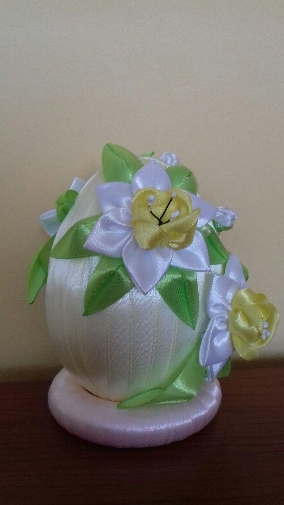 Jajko Wielkanocne Styropian Decor Kanzashi Flowers