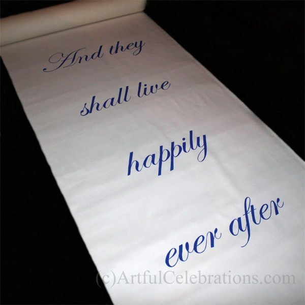 Hand painted custom wedding aisle runner. And they shall live ...