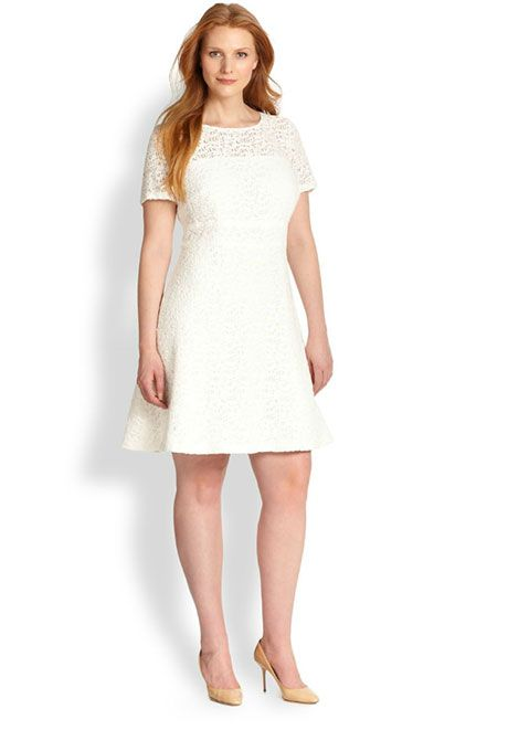 72742e1d6c2ba8 Brides.com: 21 Stylish, Short Plus-Size Wedding Dresses Fit-and-flare dress,  $410, Kay Unger available at Saks Fifth AvenuePhoto: Courtesy of Saks Fifth  ...