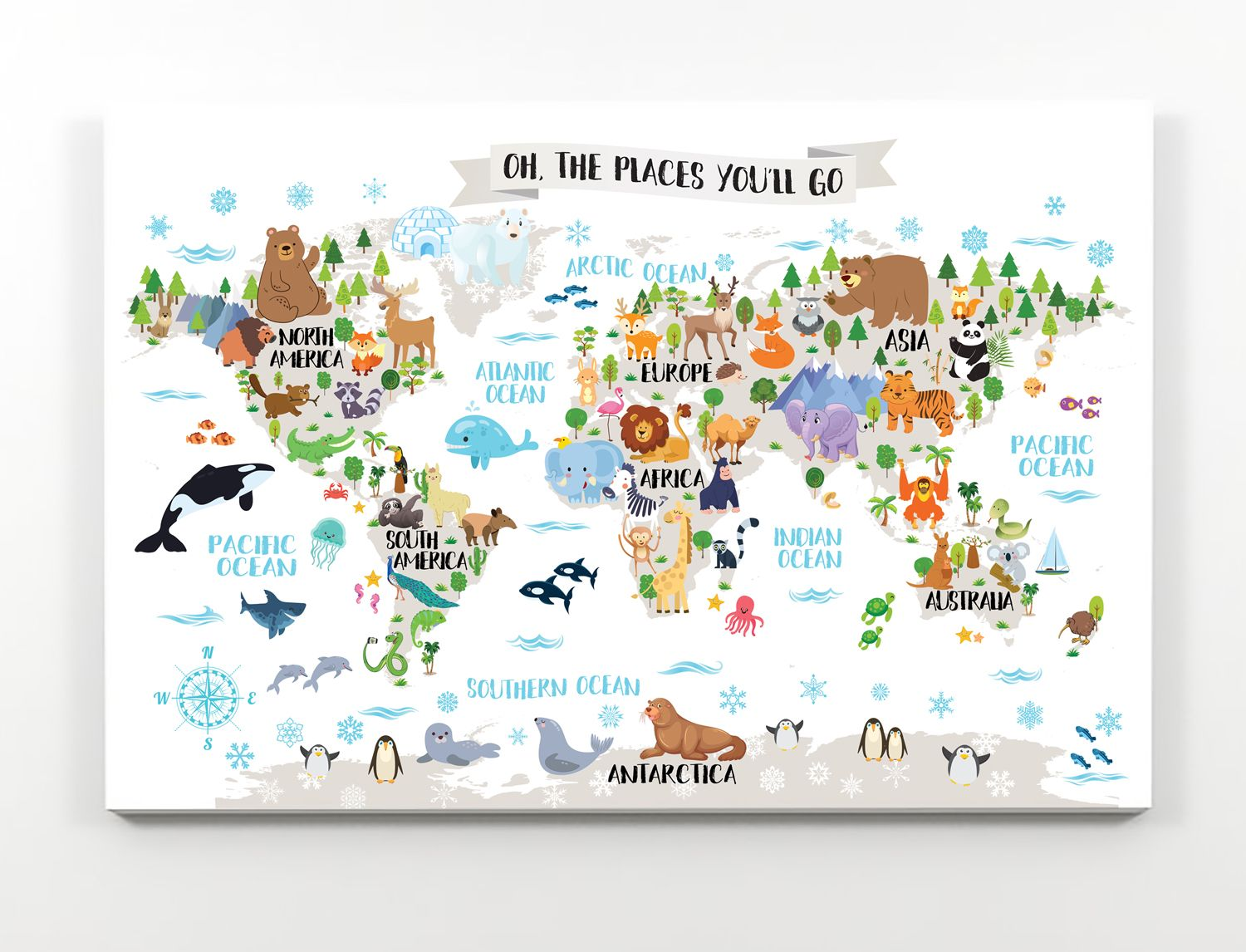 Animal world map for kids room printable nursery map animal map printable nursery map animal world map for kids animal wall map kids room decor world map nursery kids map art kid wall map world map poster gumiabroncs Images