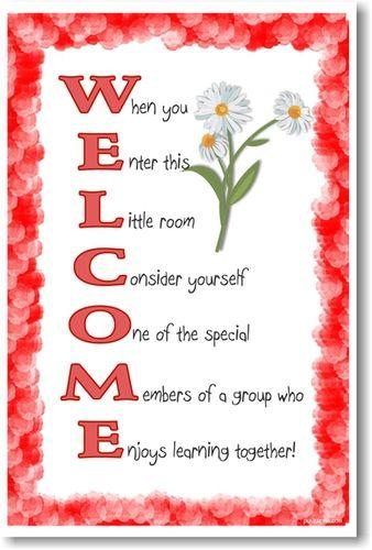 enter room door welcome welcoming class sign spring flower mat ...