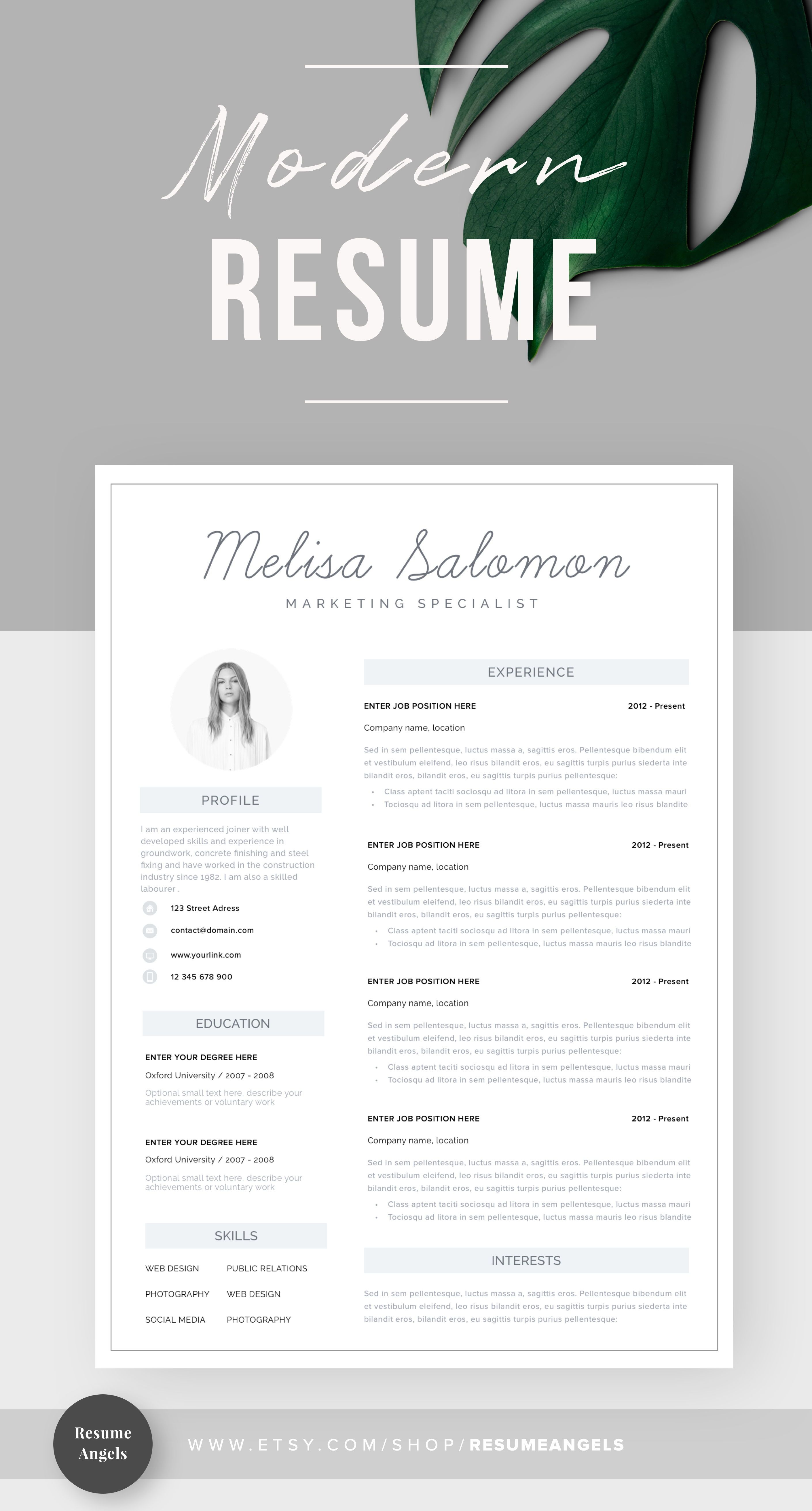 Resume Template Resume Cv Template Cv Design Curriculum Etsy Resume Templates Resume Template Free Business Card Templates