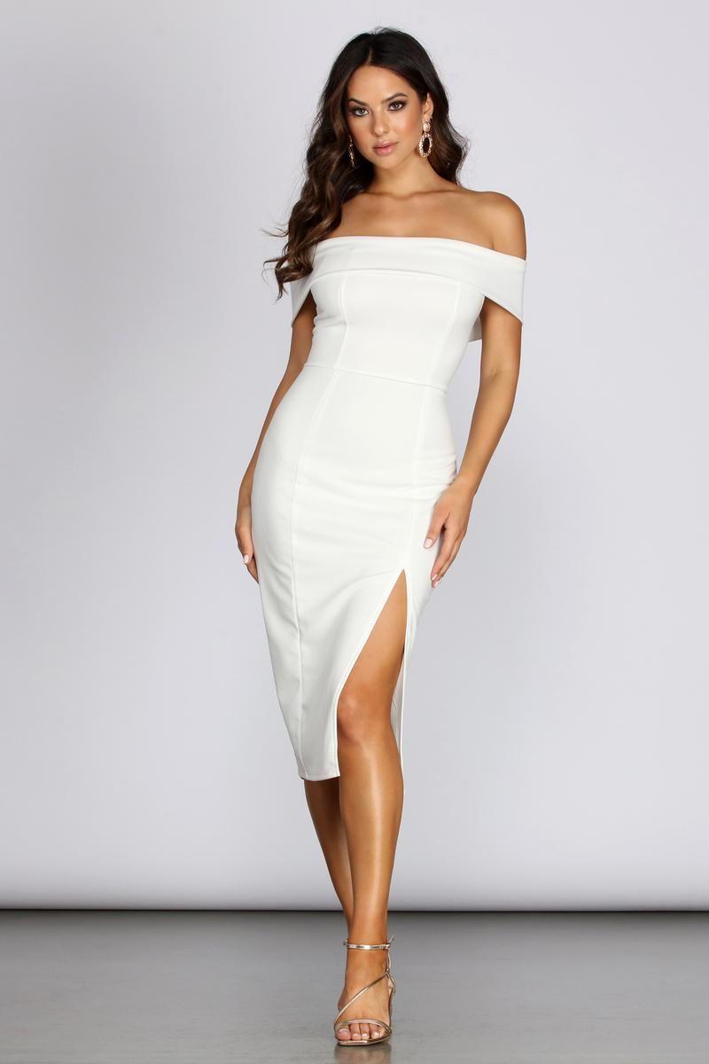 Kate Formal Crepe Midi Dress Windsor In 2021 White Cocktail Dress Shower Dress For Bride Rehearsal Dinner Outfits [ 1200 x 800 Pixel ]