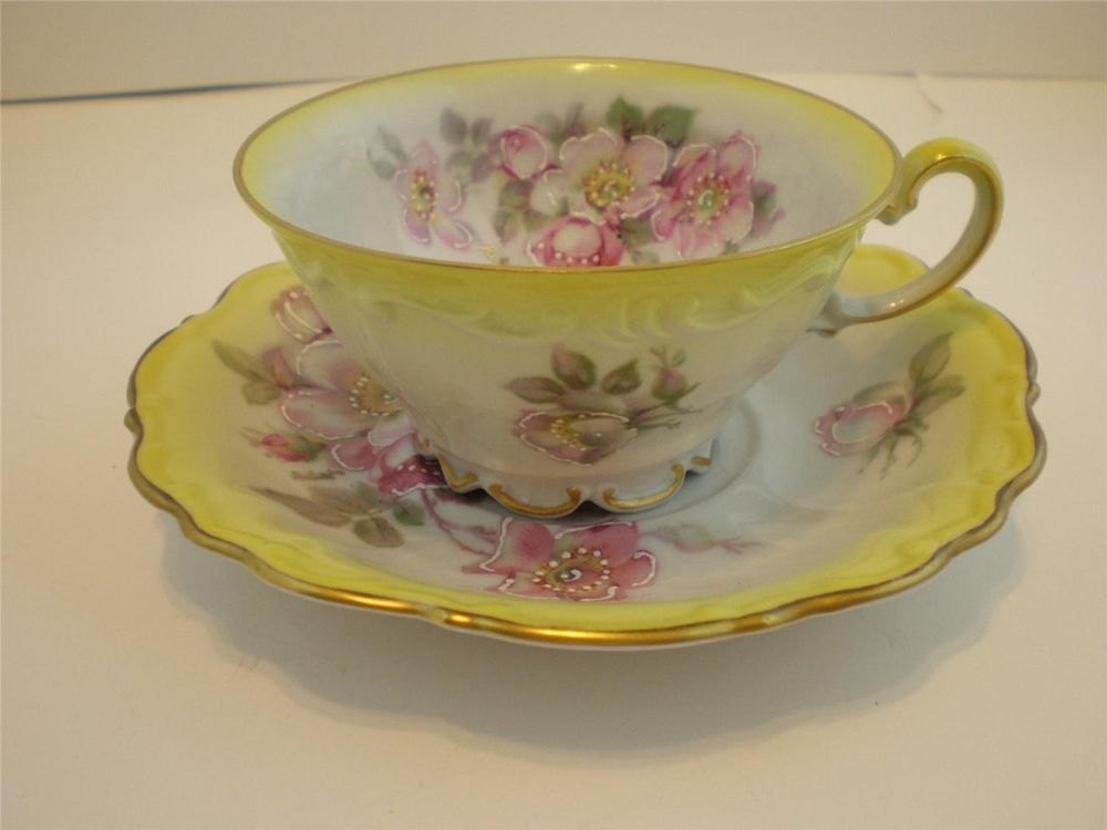 Bavaria Germany Hand Decorated Imperial Scalloped Cup Saucer