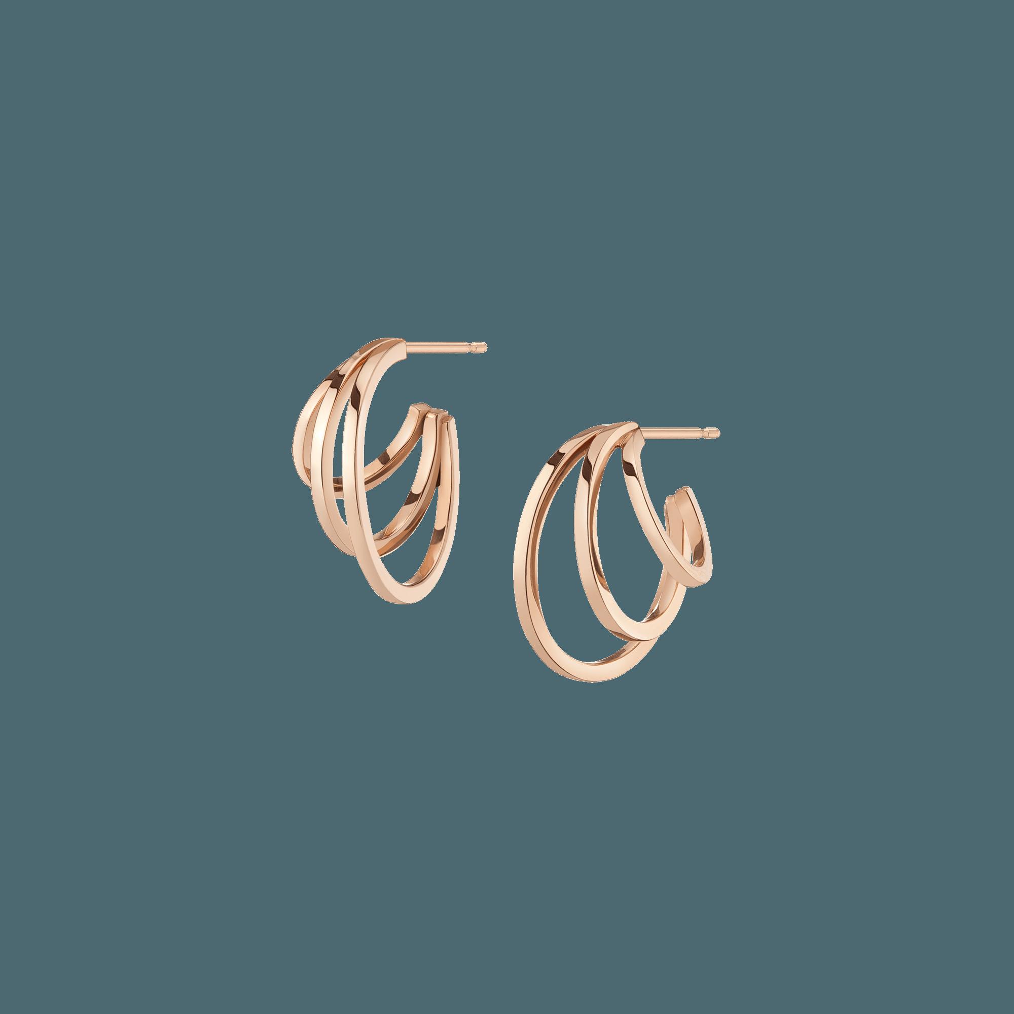 Deco Triple Gold Hoop Earrings In 2021 Triple Hoop Earrings Flower Earrings Gold Gold Hoop Earrings