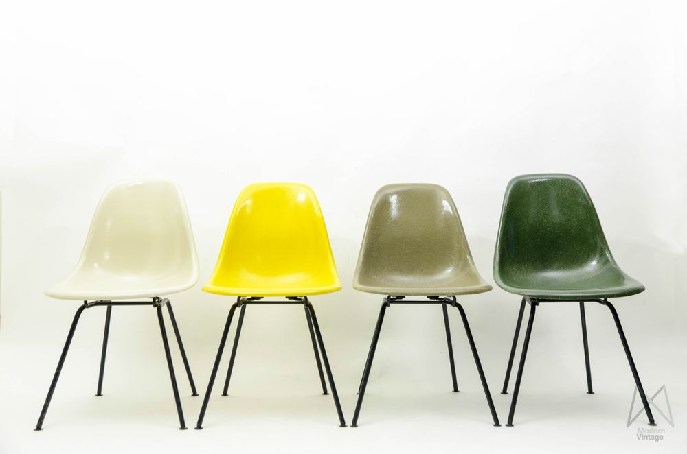 Eames Original Herman Miller Fiberglass Dsw Chair Set Yellow Green Tones Dsw Chair Chair Chair Set