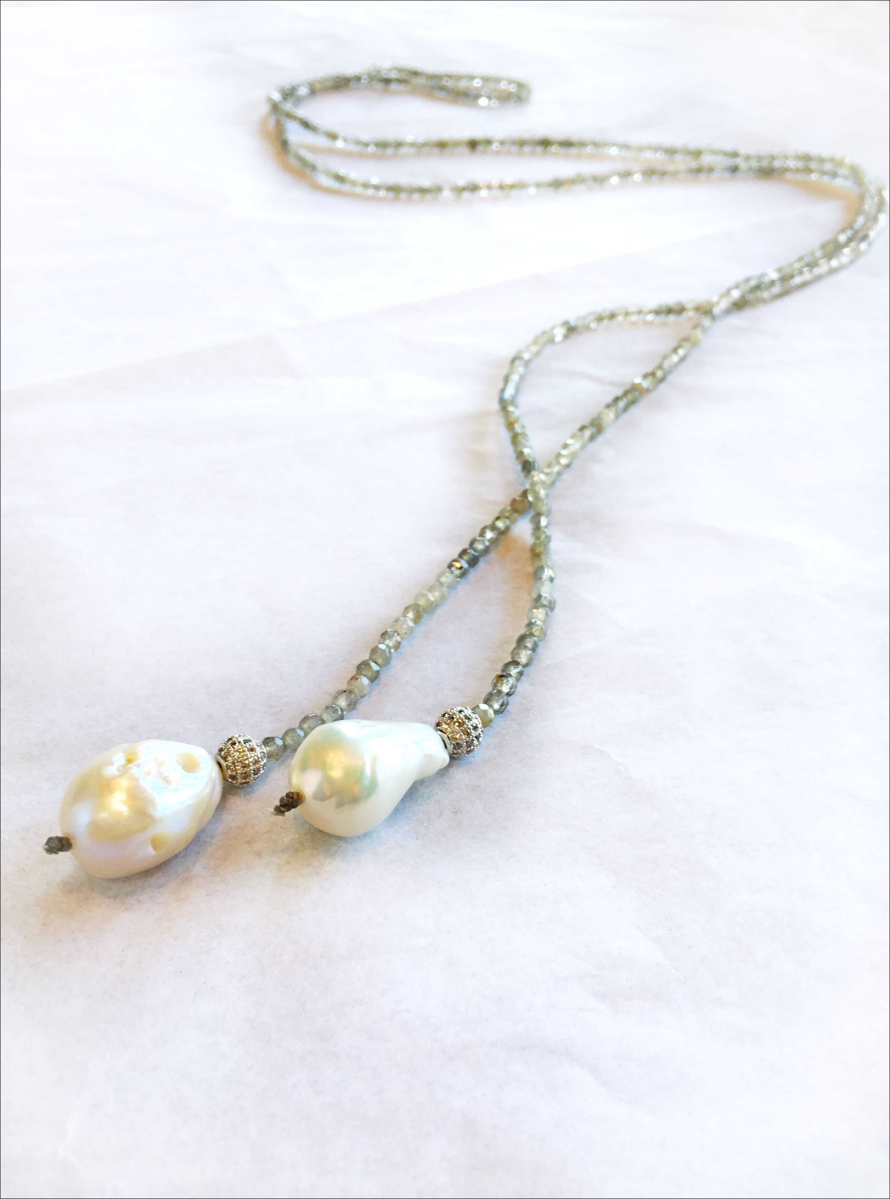 in2 Design Iselia A labrodorite lariat style necklace is accented