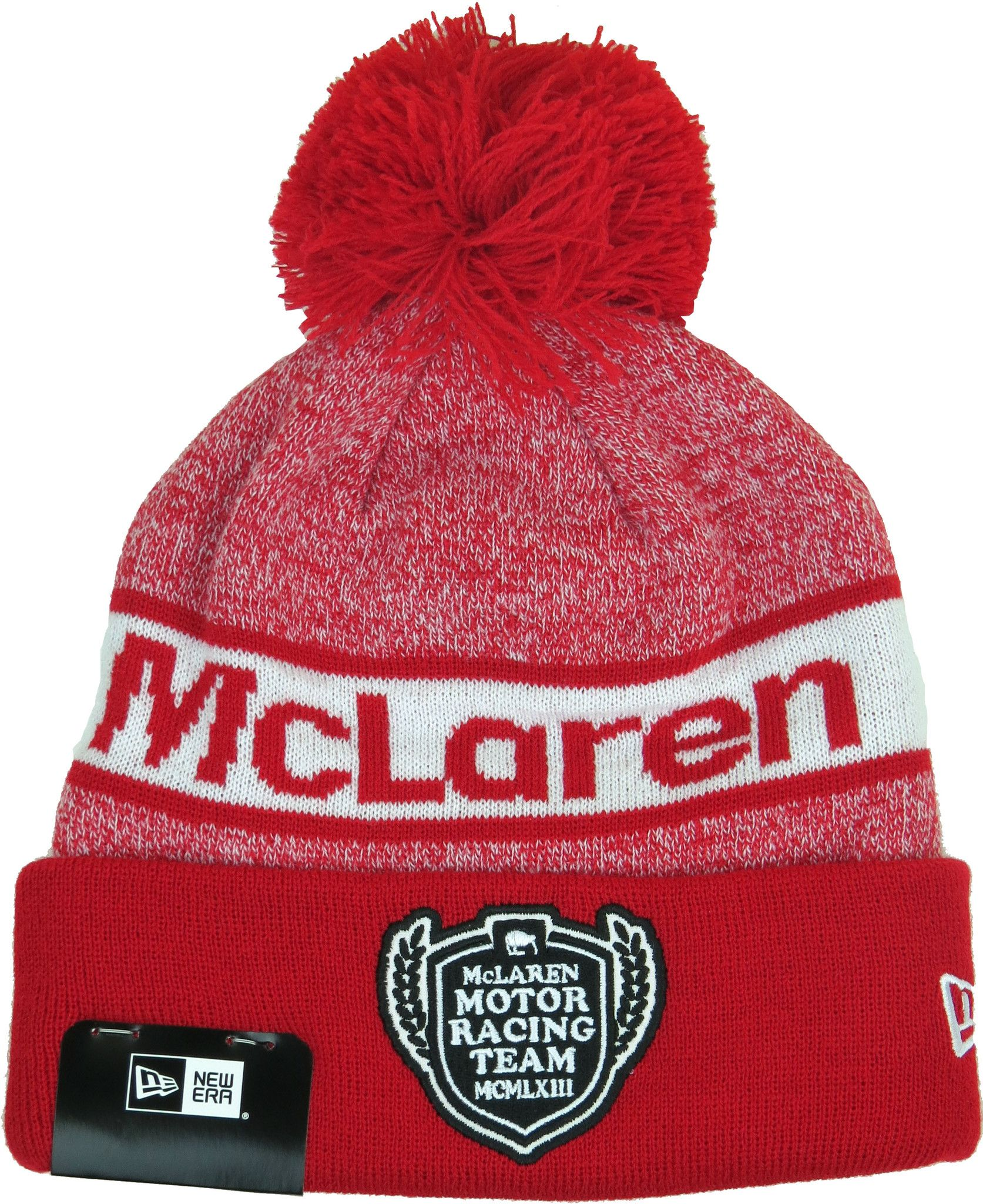 New Era McLaren Racing Retro Beanie Bobble Hat. Red bb9e3d511f7