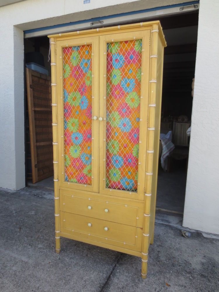 RARE Chicken Wire Faux Bamboo Armoire Thomasville China Cabinet Pantry  Highboy