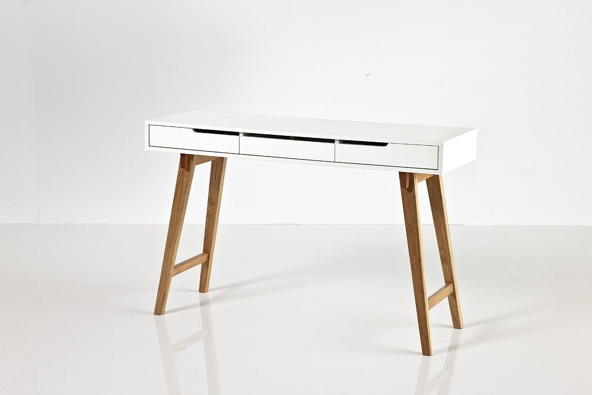 schreibtisch 120 x 40 cm weiss matt lackiert buche massiv woody 41 02412 holz retro jetzt. Black Bedroom Furniture Sets. Home Design Ideas