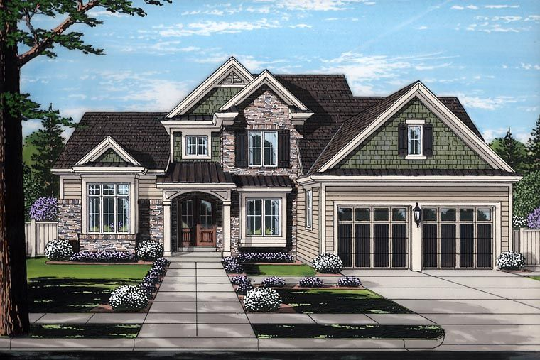Craftsman European Traditional Elevation Of Plan 98678 Traditional House Plan Traditional House Transitional House