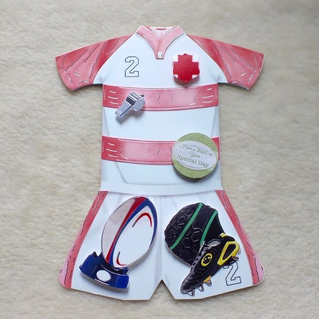Handmade England Rugby Kit Shaped Birthday Or Special Day Card Teacher Cards Rugby Birthday Boy Cards