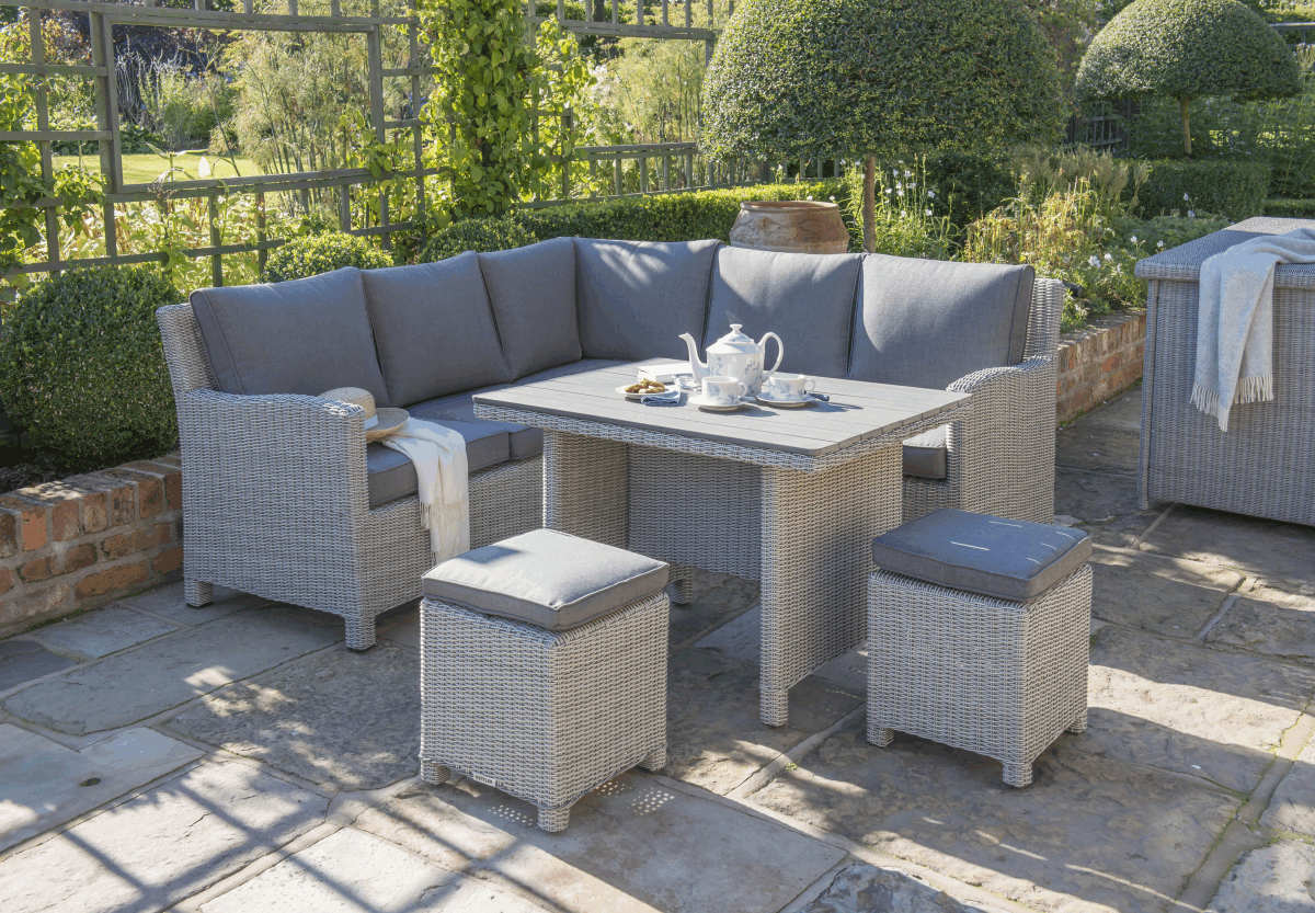 Great Kettler Palma Mini Corner Set White Wash With Taupe Cushions   Available To  Buy Online From Garden Furniture World. We Sell A Large Range Of Garden ...