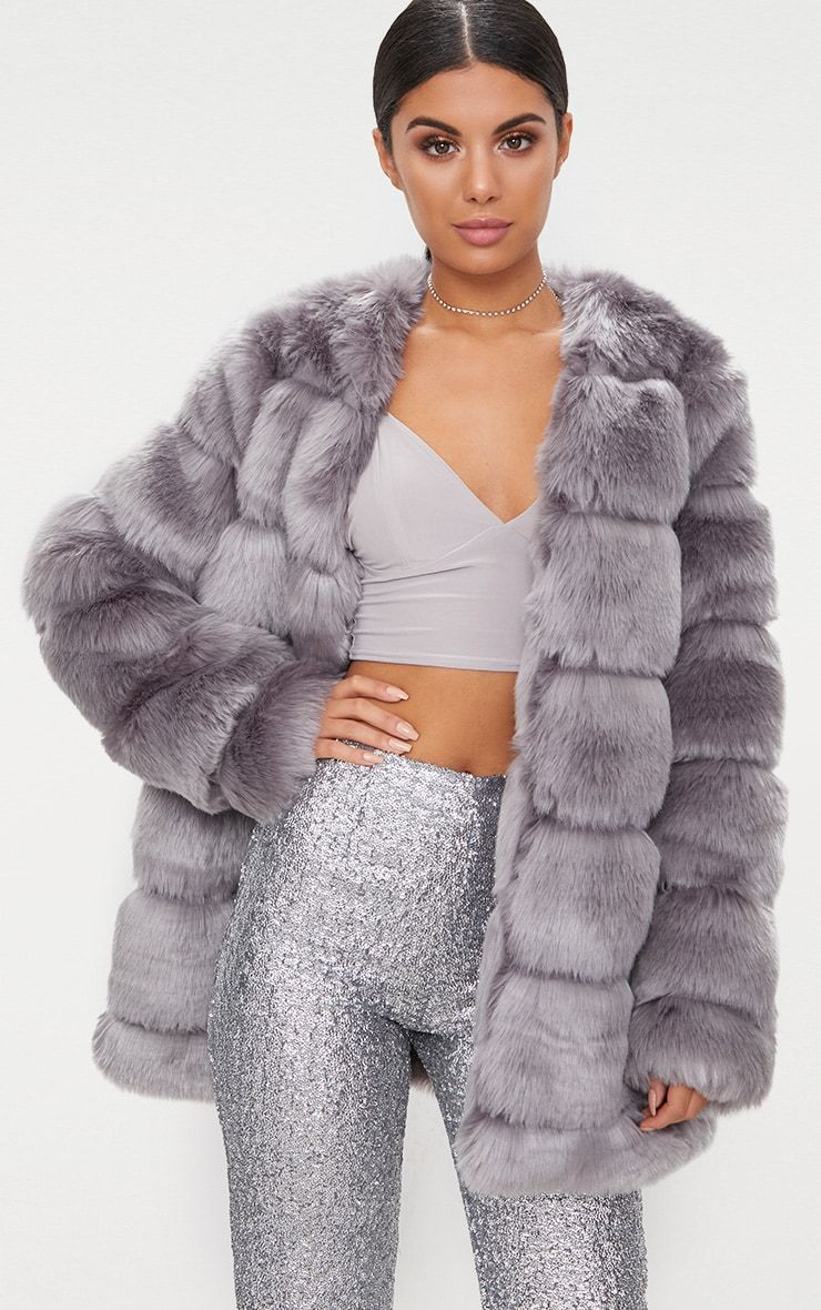 Grey Faux Fur Bubble Coat Womens Faux Fur Coat Fur Coats Women Coats For Women [ 1180 x 740 Pixel ]
