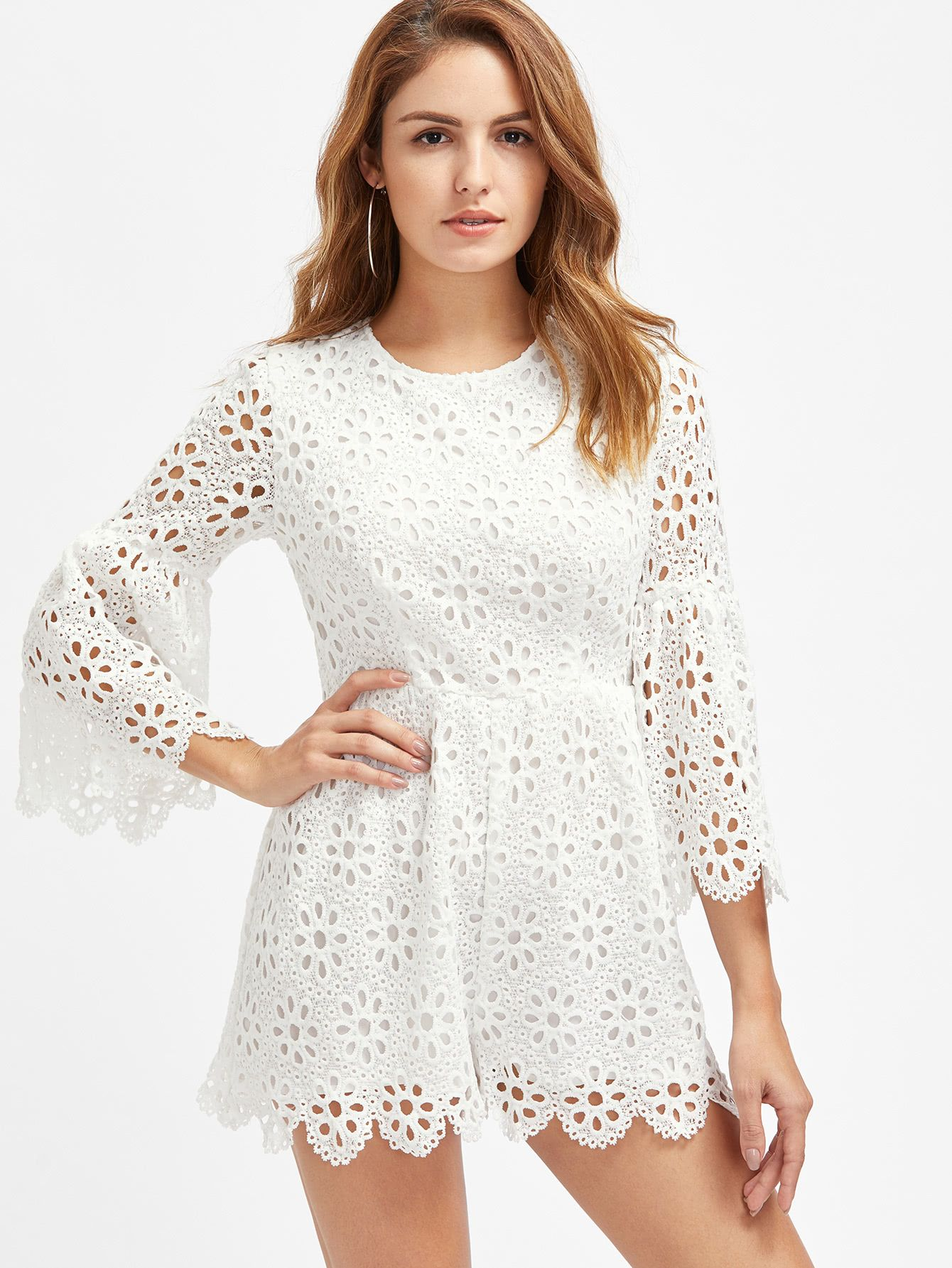 b16be6910ff777 Shop Trumpet Sleeve Scalloped Eyelet Floral Crochet Overlay Playsuit  online. SheIn offers Trumpet Sleeve Scalloped Eyelet Floral Crochet Overlay  Playsuit ...