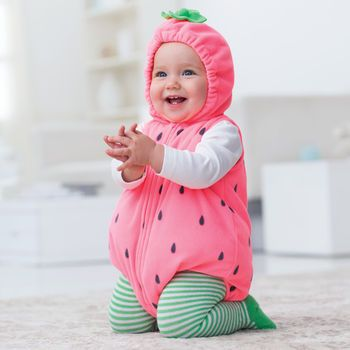 dress babys first halloween in a fleece strawberry bubble costume from carters matching long sleeve cotton tee and knit tights are such a sweet look - Strawberry Halloween Costume Baby