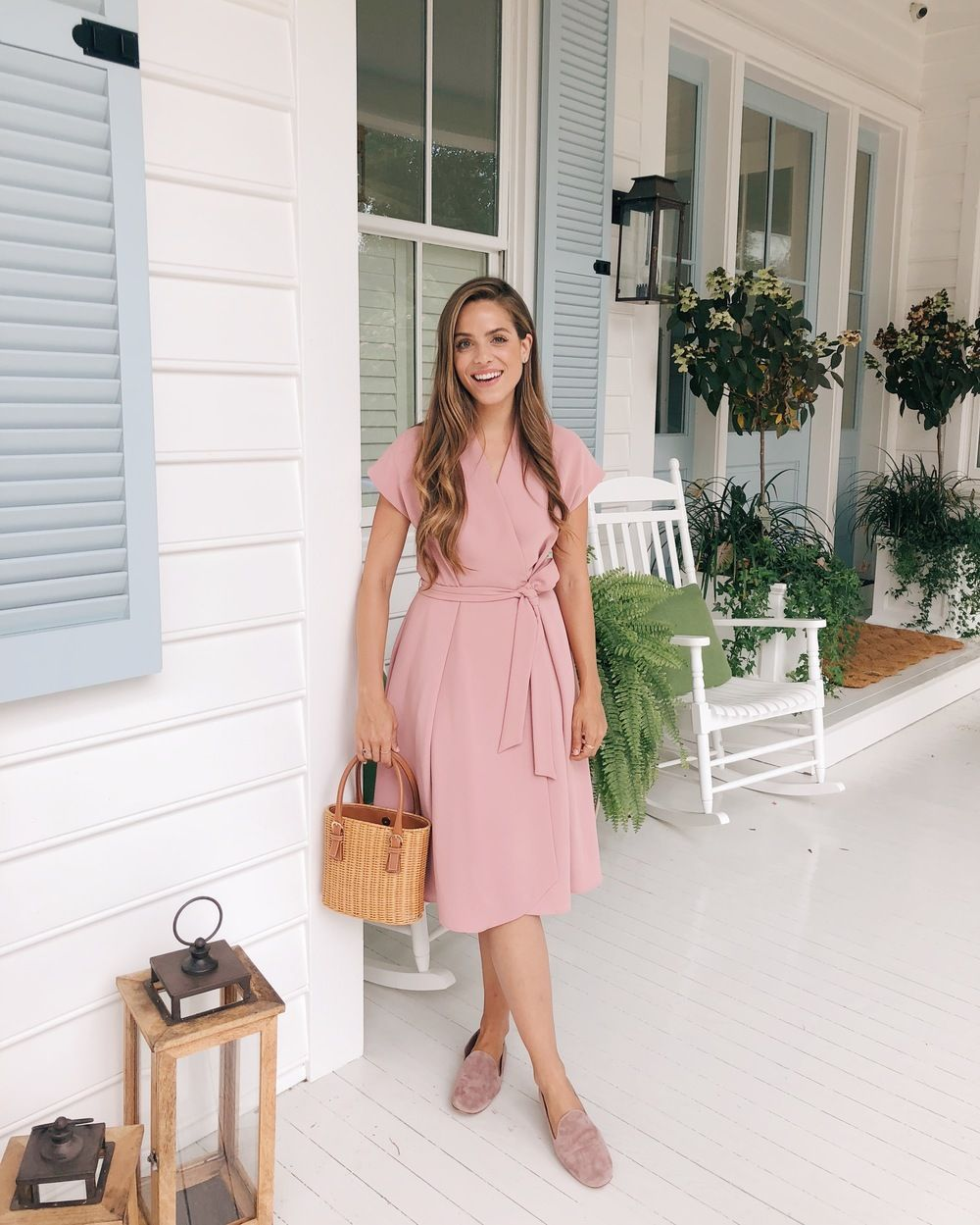 7756b94718 Gal Meets Glam featuring Julia wearing a Gal Meets Glam Collection Audrey  dress with a vintage Ferragamo basket bag and Vince suede loafers in blush.